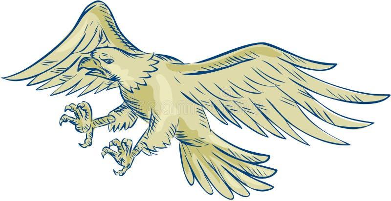Вытравливание белоголового орлана Swooping иллюстрация штока