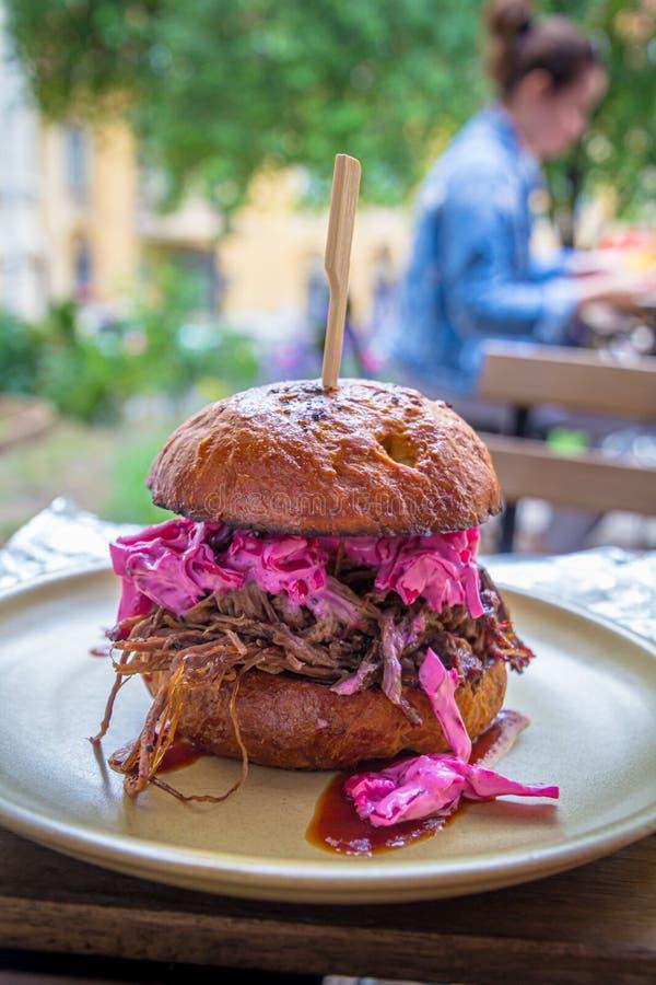Вытягиванный бургер свинины с красной капустой стоковое изображение rf