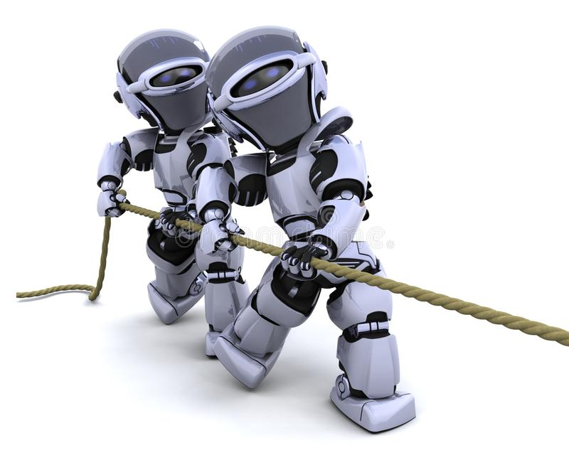 вытягивать веревочку роботов иллюстрация вектора