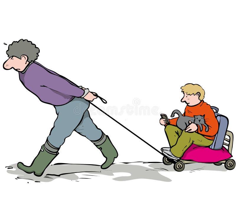 Вытягивать мальчика иллюстрация штока