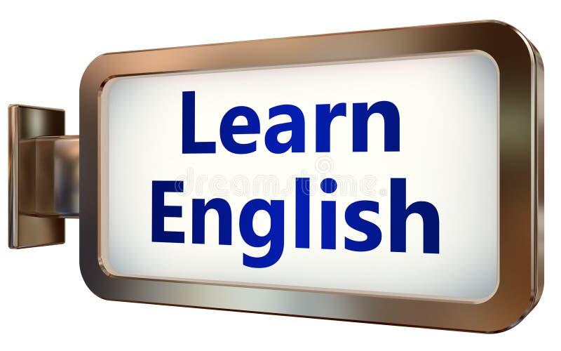 Выучите английский язык на предпосылке афиши иллюстрация вектора