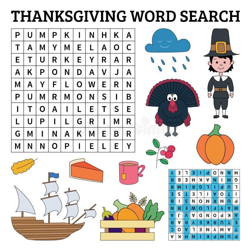 Выучите английский язык с игрой поиска слова благодарения для детей Vecto иллюстрация штока