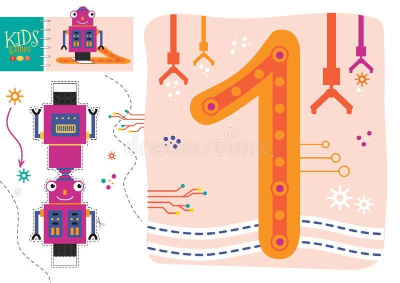 Выучите как написать 1 для preschool иллюстрации вектора детей, игры иллюстрация штока