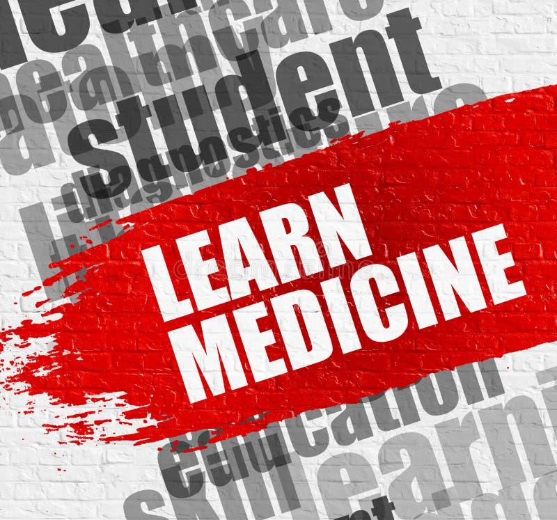 Выучите медицину на белом Brickwall Воспитательная концепция Wordcloud иллюстрация вектора