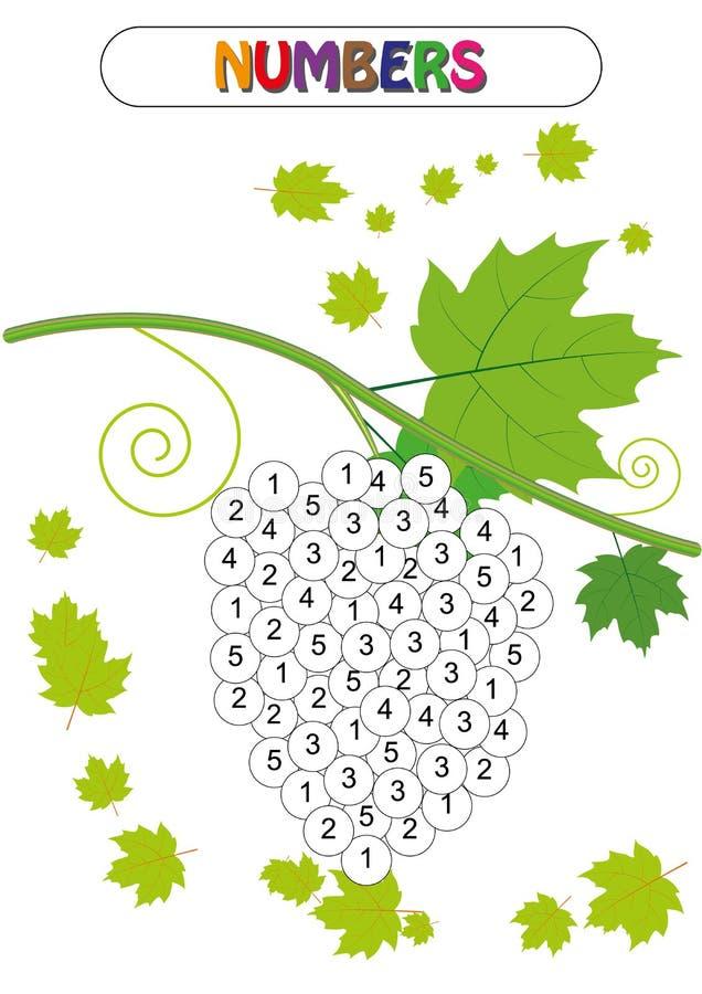 Выучите номера, покрасьте номер, игру математики, рабочее лист деятельности при математики иллюстрация вектора