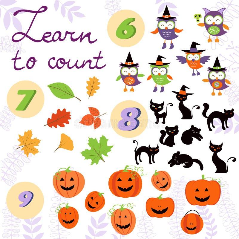Выучите подсчитать собрание связанное хеллоуином милое иллюстрация штока