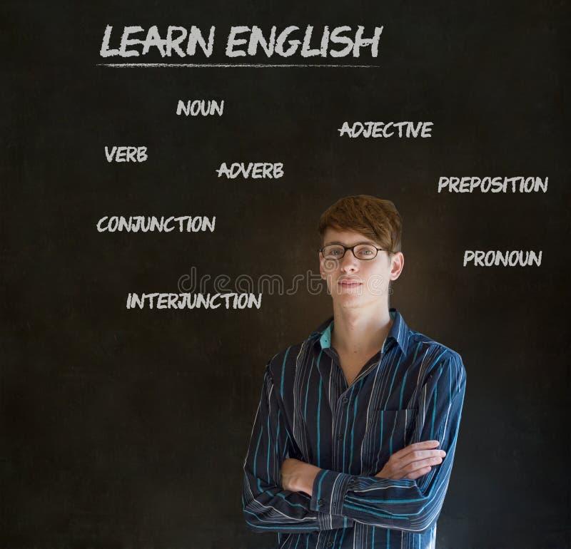 Выучите учителя английского с предпосылкой мелка стоковые изображения