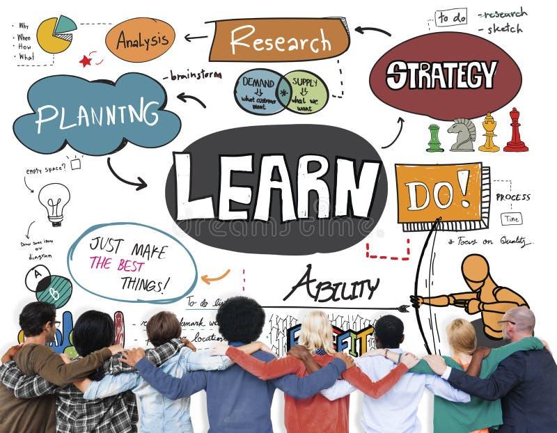 Выучите учить премудрость знания образования изучая концепцию стоковые изображения