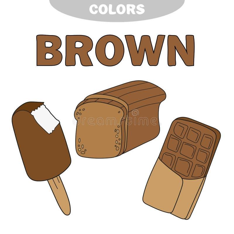 Выучите цвет Брауна - вещи которые коричневый цвет Комплект образования иллюстрация штока
