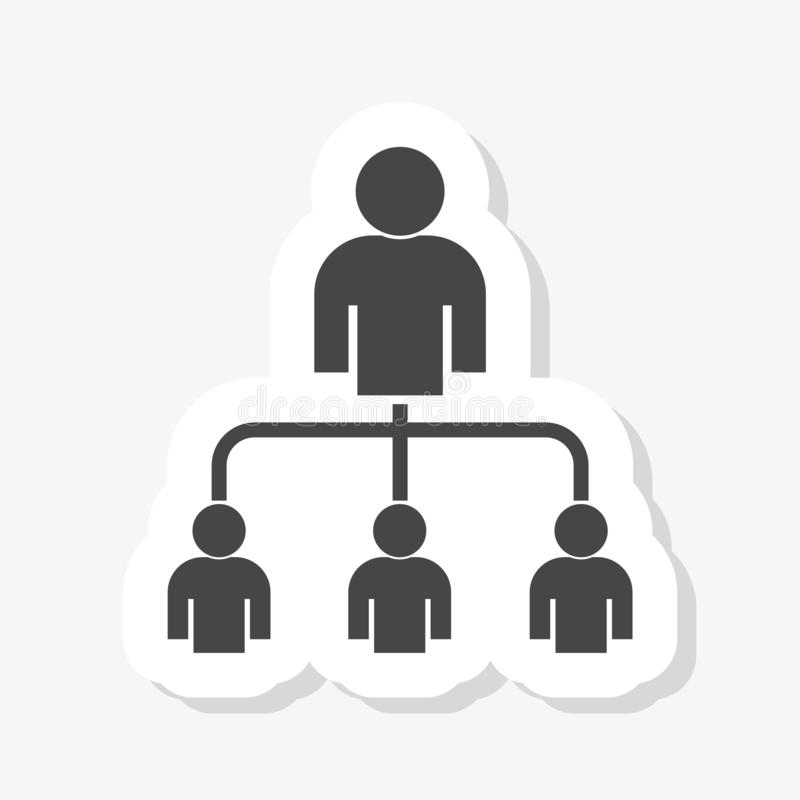 Выходя на рынок концепция сети с человеческими диаграммами значком стикера бесплатная иллюстрация