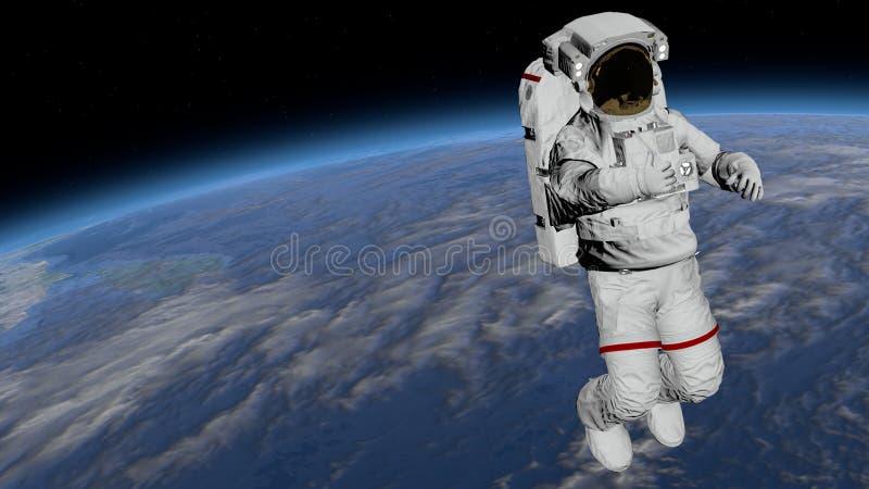Выход в открытый космос астронавта, астронавт показывает большие пальцы руки вверх в открытом пространстве ИСС международной косм стоковые изображения rf