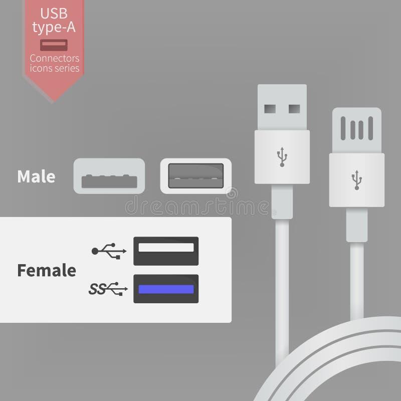 Выход гнезда USB и белые провода соединителей Иллюстрация вектора в плоском стиле иллюстрация вектора