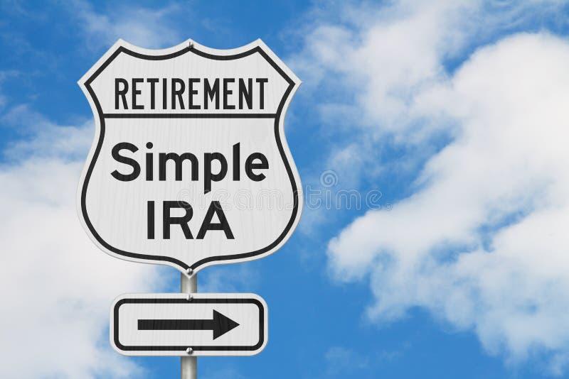 Выход на пенсию с простым маршрутом плана ИРА на дорожном знаке шоссе США стоковое фото