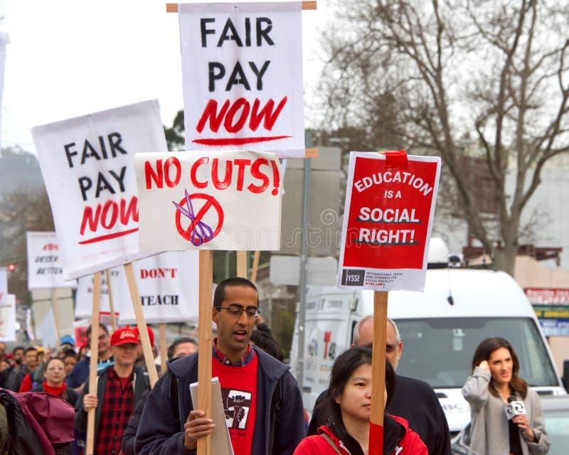 Выход Окленд протеста учителя, CA стоковые фотографии rf