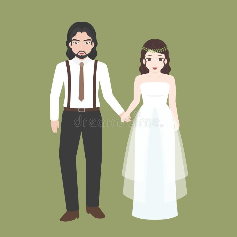 Выхольте держать руку с мостом, парой любовника в концепции костюма свадьбы иллюстрация штока