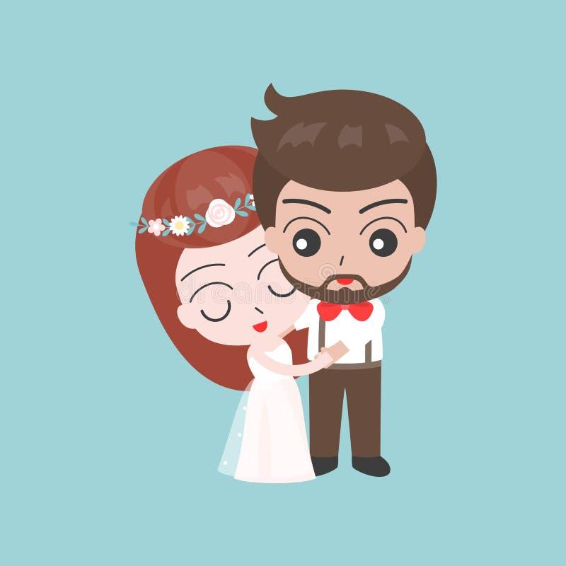 Выхольте и невеста обнимая, милый характер для пользы как invit свадьбы иллюстрация штока