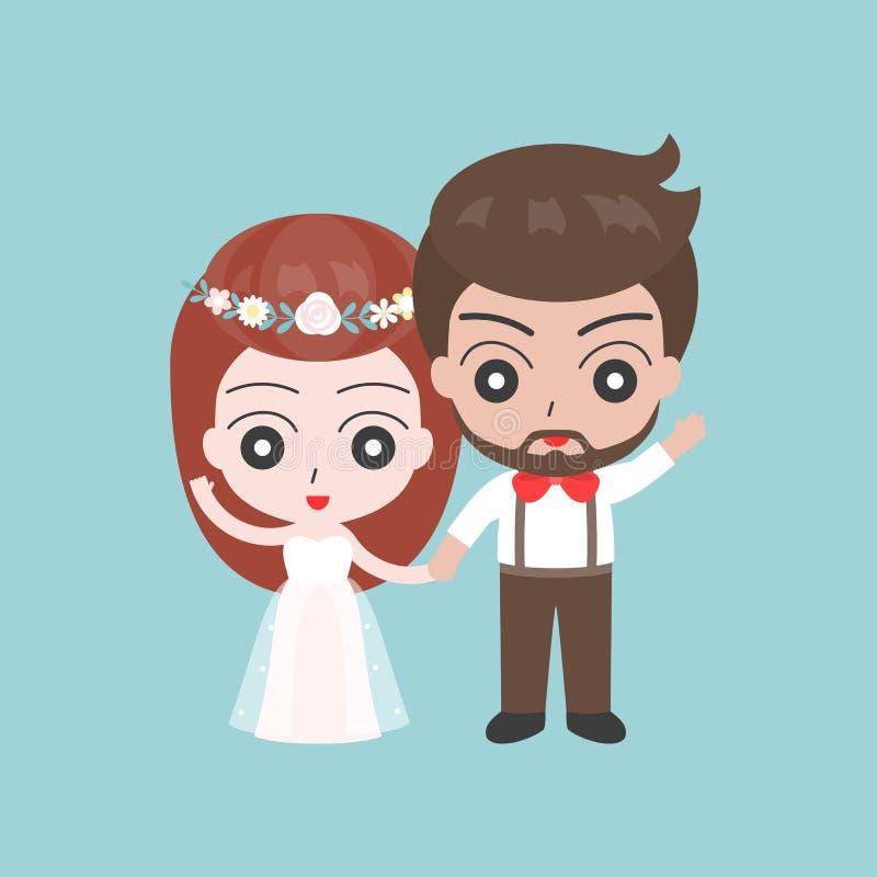 Выхольте и рука удерживания невесты, милый характер для пользы как свадьба иллюстрация штока