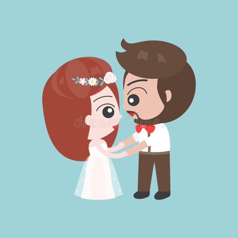 Выхольте и рука удерживания невесты, милый характер для пользы как свадьба бесплатная иллюстрация