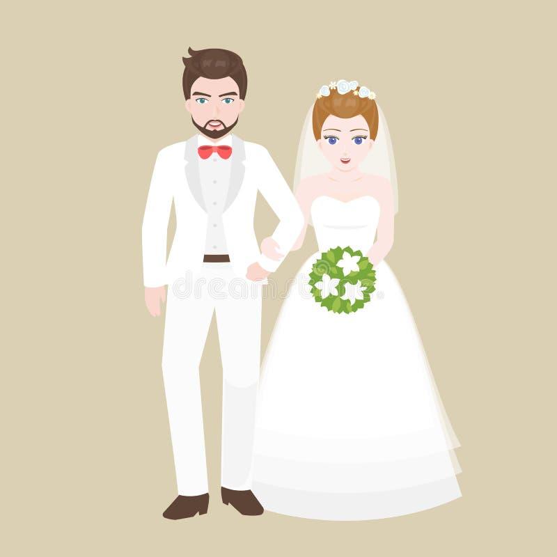 Выхольте руку прогулки в руке с мостом, парой любовника в концепции костюма свадьбы иллюстрация вектора