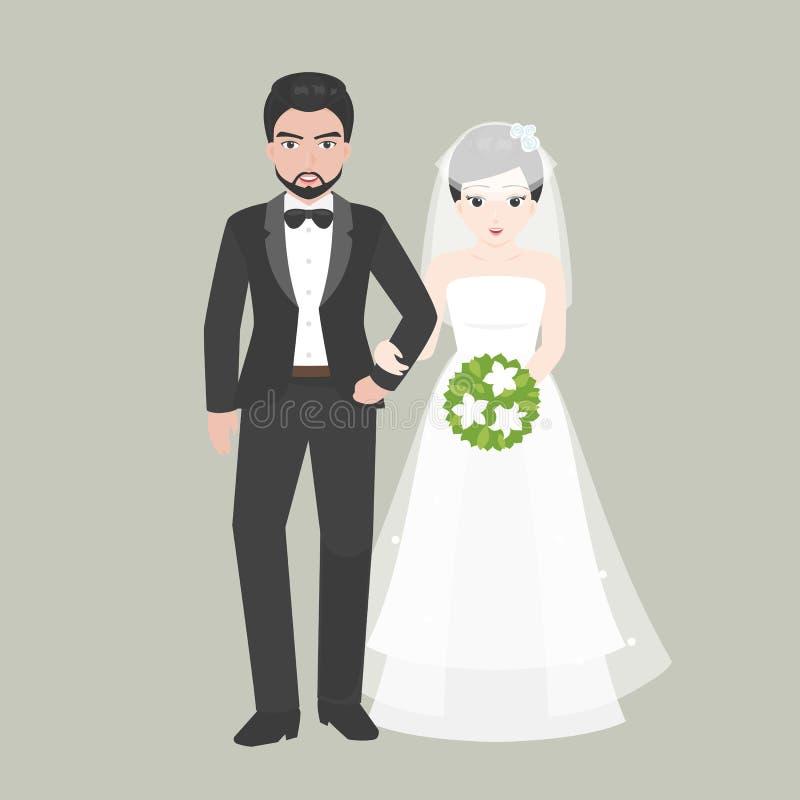 Выхольте руку прогулки в руке с мостом, парой любовника в концепции костюма свадьбы иллюстрация штока