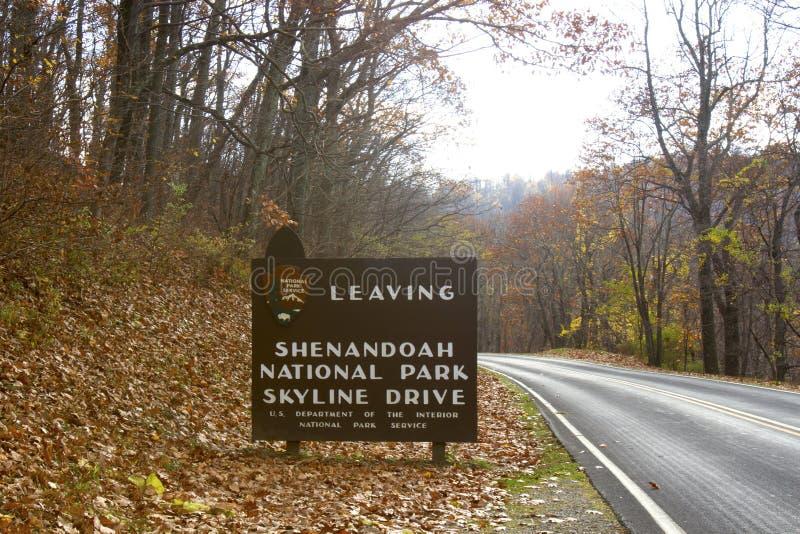 Выходить знак привода горизонта Shenandoah стоковая фотография