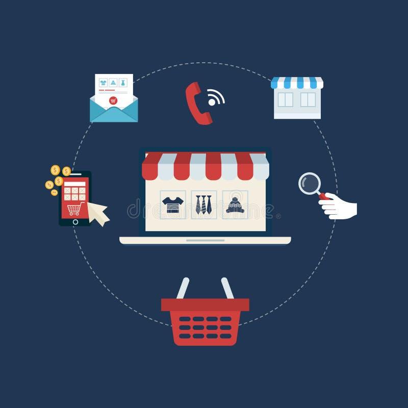 Выходить на рынок и онлайн магазин иллюстрация вектора