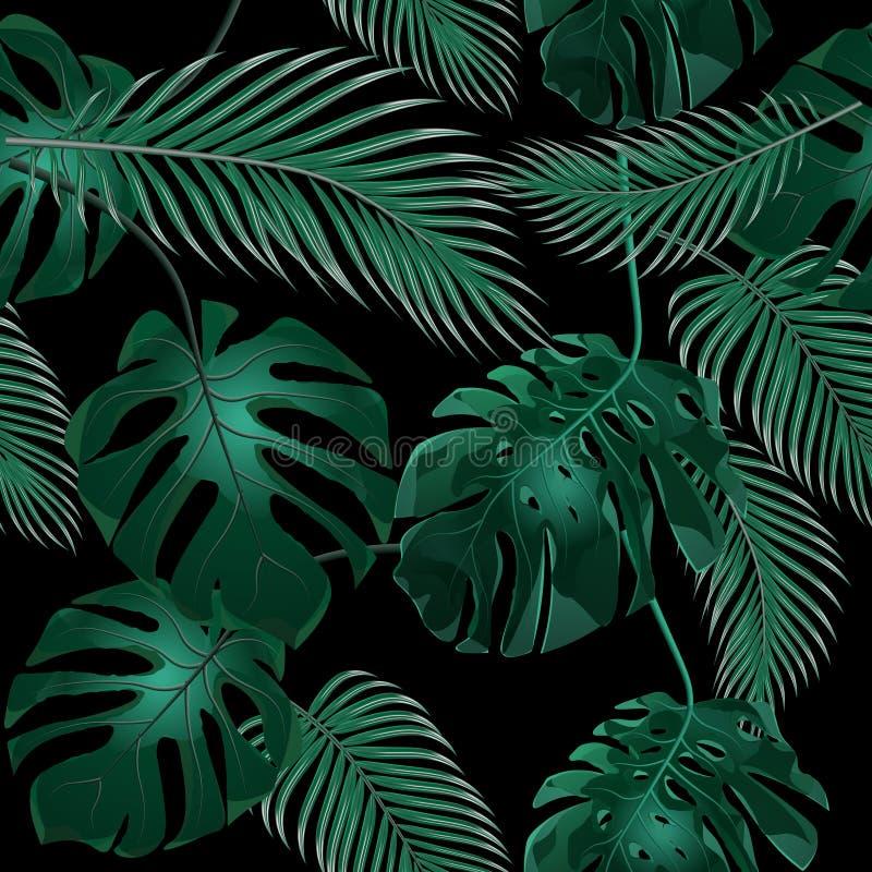 выходит ладонь тропической Чащи джунглей флористическая картина безшовная Изолировано на черной предпосылке иллюстрация бесплатная иллюстрация