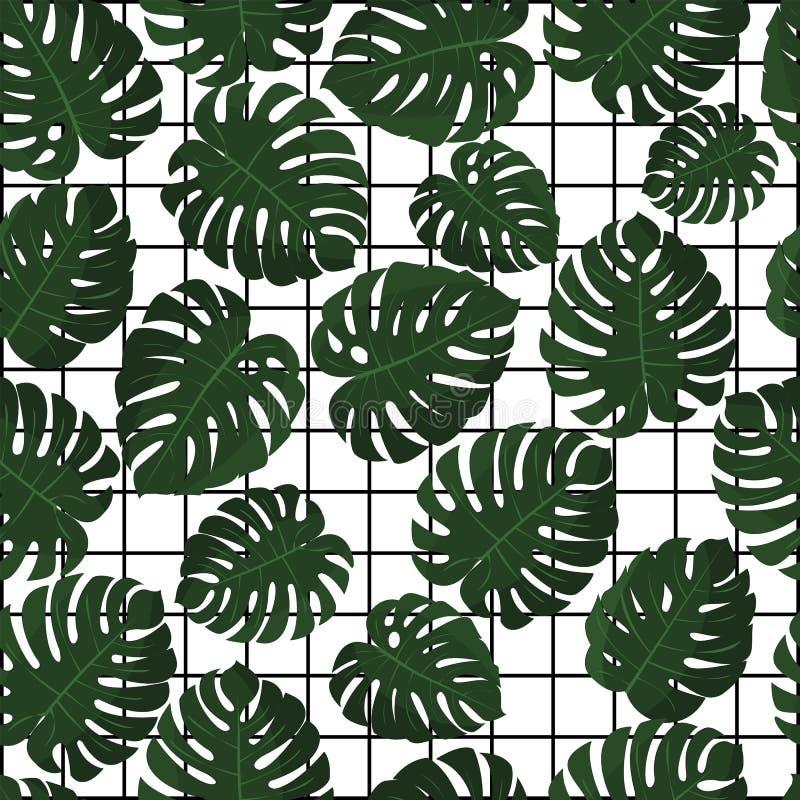 выходит тропическими вектор Безшовная картина в образце Джунгли выходят обои Предпосылка Гаваи с геометрической решеткой иллюстрация вектора