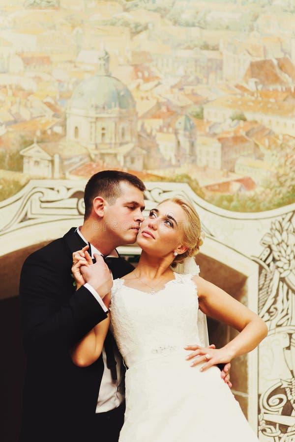 Выхольте щеку невесты поцелуя полагаясь ее рука к его сердцу стоковое изображение