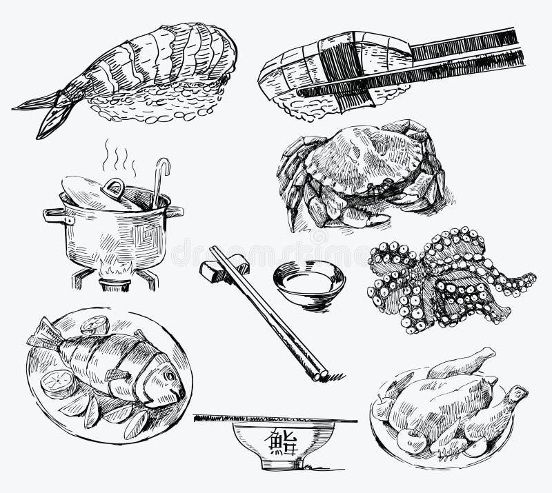 вычерченная картина руки безшовная иллюстрация штока