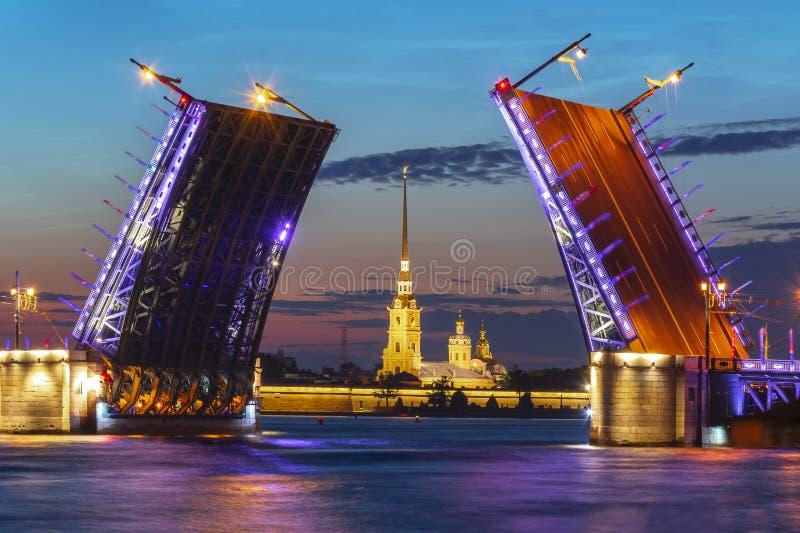 Вычерченная крепость на белой ноче, Санкт-Петербург моста и Питера и Пола дворца, Россия стоковое изображение rf
