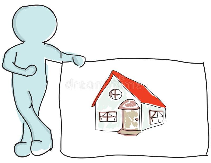 Вычерченная марионетка стоя близко дом иллюстрация вектора