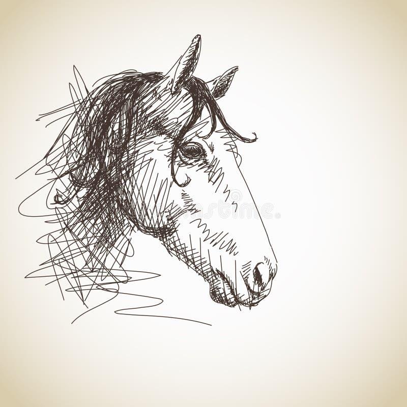вычерченная лошадь руки иллюстрация вектора