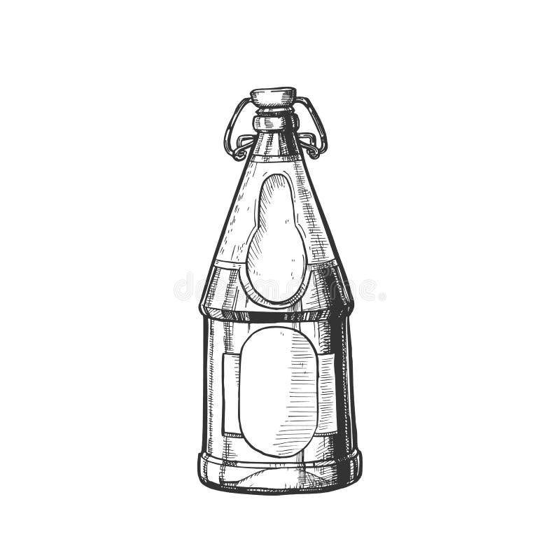 Вычерченная пустая пивная бутылка с вектором затвора Адвокатуры бесплатная иллюстрация