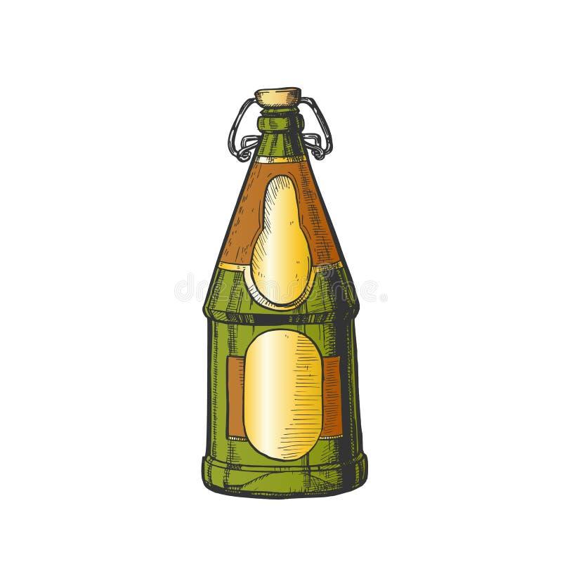 Вычерченная пустая пивная бутылка с вектором цвета затвора Адвокатуры бесплатная иллюстрация