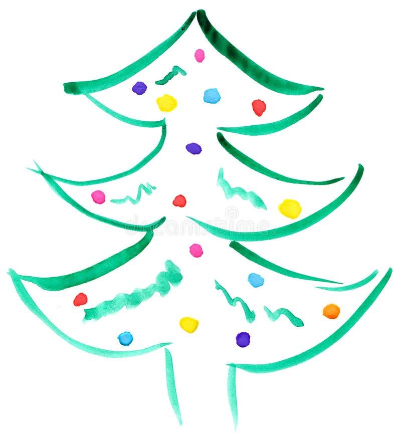 Вычерченная рождественская елка иллюстрация вектора