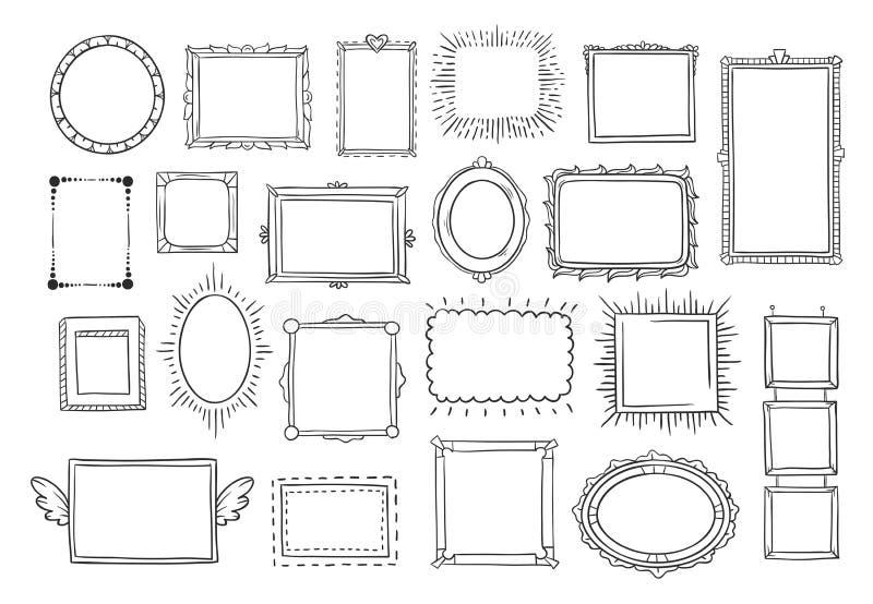 вычерченная рука рамок Винтажная картинная рамка эскиза doodle Пустые эскизы кадра черного квадрата покрашенные комплектом вектор иллюстрация вектора
