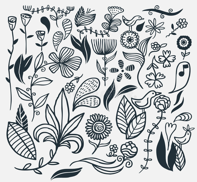 вычерченная рука цветков иллюстрация вектора