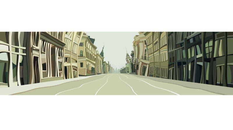 Вычерченная улица города от кривых домов мультфильма иллюстрация штока