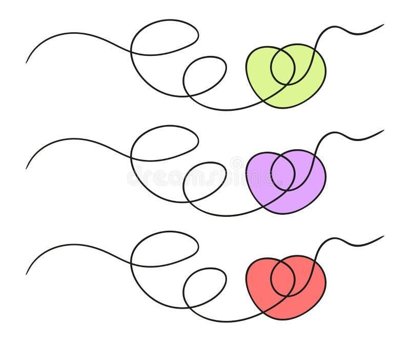 Вычерченное абстрактное сердце Doodle стиля эскиза иллюстрация вектора, изолированная предпосылка иллюстрация штока