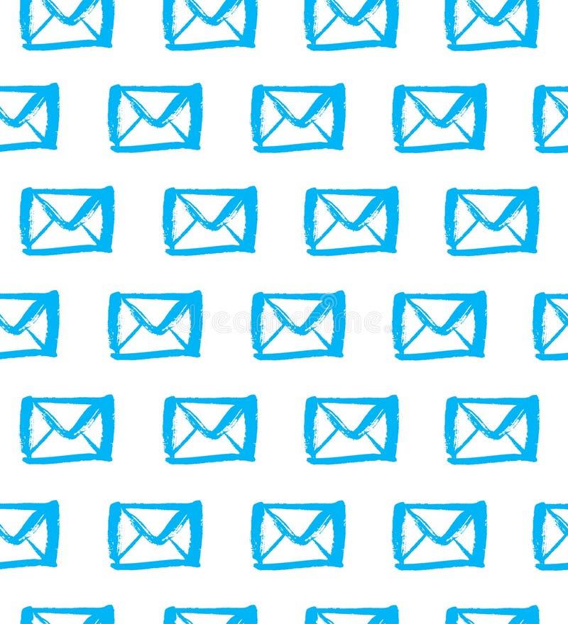 Вычерченные голубые силуэты писем на белой предпосылке Безшовная картина почты иллюстрация штока