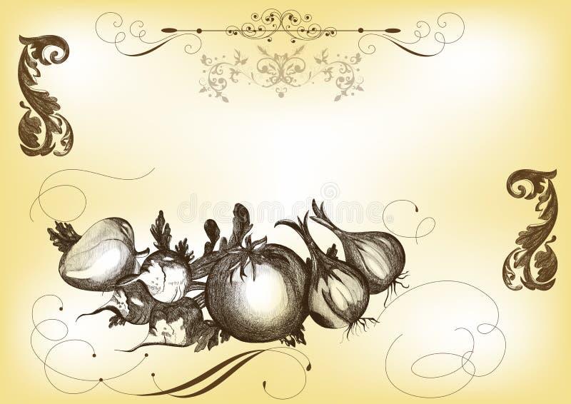 вычерченные овощи вектора иллюстрации руки иллюстрация штока