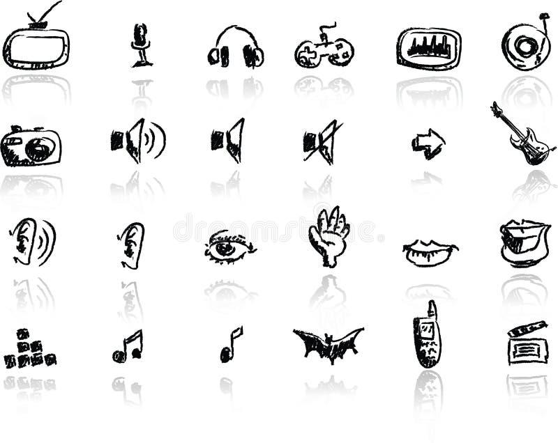 вычерченные установленные средства иконы руки бесплатная иллюстрация