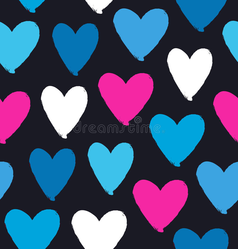 Вычерченные multicolor силуэты сердца на черной предпосылке Символ влюбленности в стиле grunge вектор декоративной картины иллюст бесплатная иллюстрация