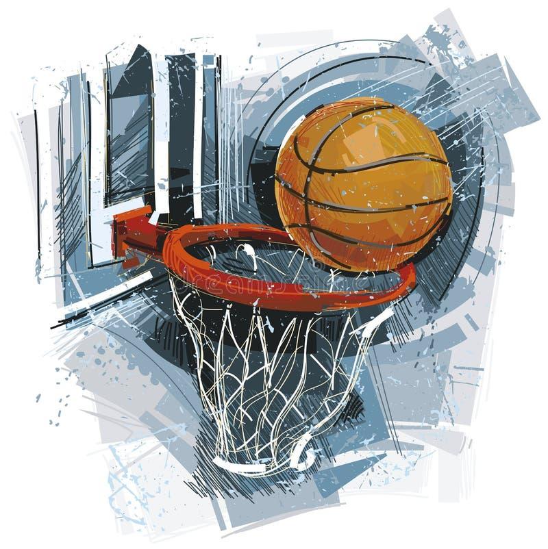 Вычерченный баскетбол иллюстрация вектора