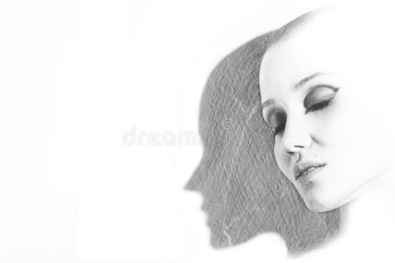 Вычерченный женский портрет стоковые фото