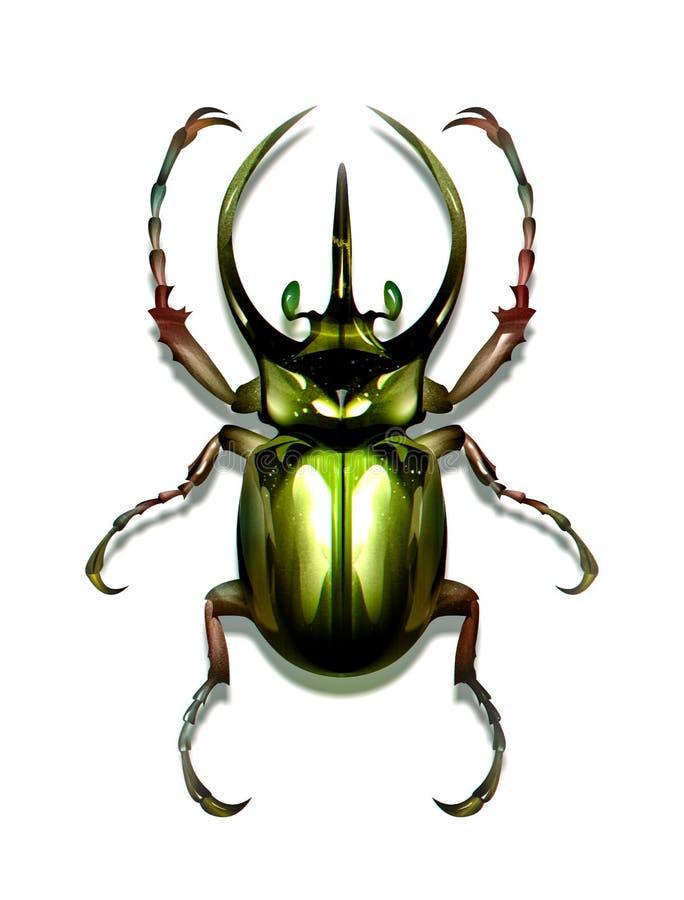 Вычерченный жук зеленого цвета насекомого на белой предпосылке иллюстрация вектора