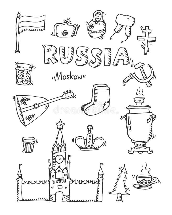 вычерченный комплект России икон руки иллюстрация штока
