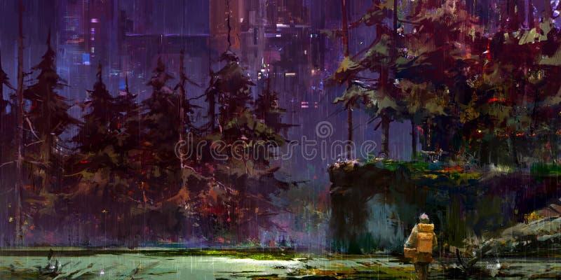 Вычерченный ландшафт ночи фантазии киберпанка с путешественником в лесе иллюстрация штока