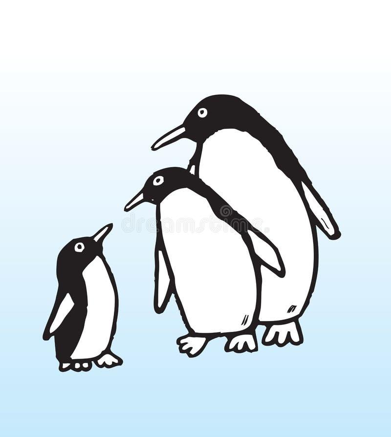 вычерченный пингвин руки семьи иллюстрация штока